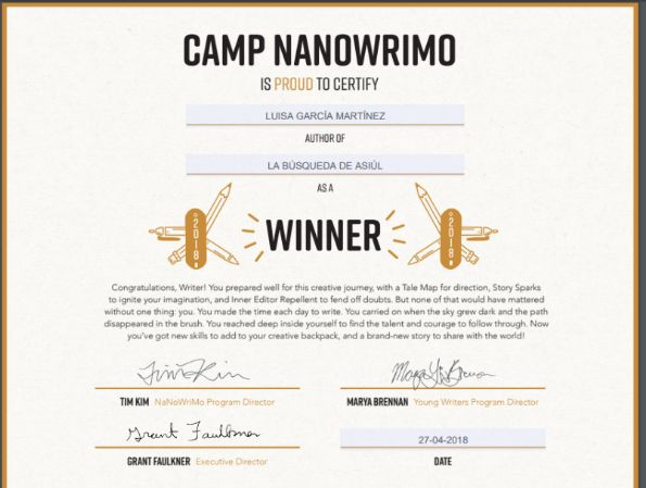Diploma del nanowrimo