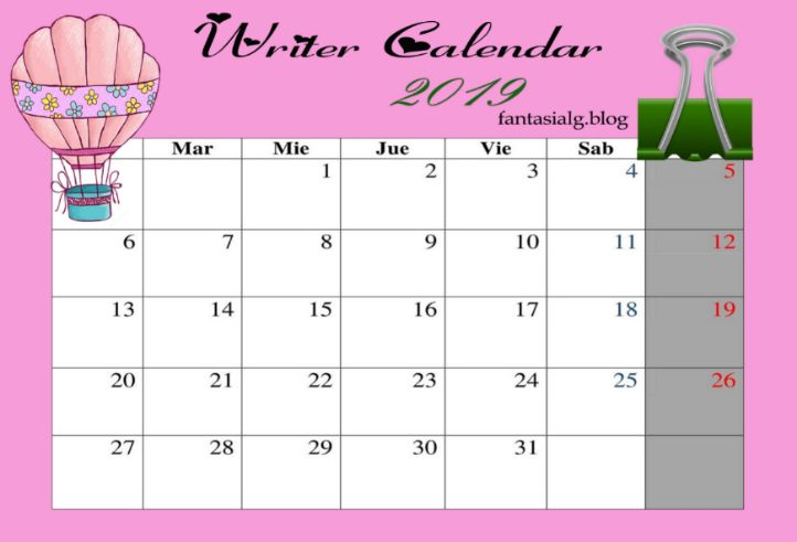Writer Calendar, fantasialg.blog